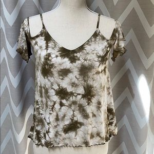 Tie Dye Olive Army Green Off the Shoulder Top AEO